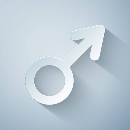 Paper cut Male gender symbol icon isolated on grey background. Paper art style. Vector Illustration