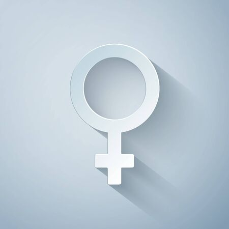 Paper cut Female gender symbol icon isolated on grey background. Venus symbol. The symbol for a female organism or woman. Paper art style. Vector Illustration