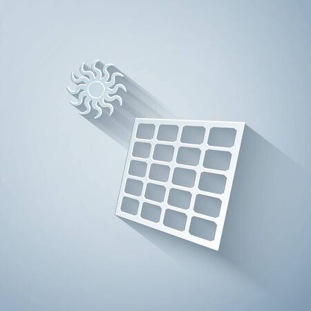 Paper cut Solar energy panel and sun icon isolated on grey background. Paper art style. Vector Illustration Ilustracja
