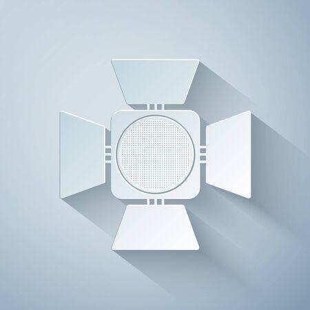 Paper cut Movie spotlight icon isolated on grey background. Light Effect. Scene, Studio, Show. Paper art style. Vector Illustration 일러스트