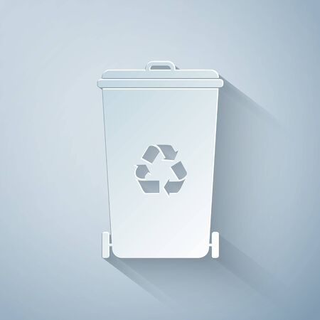 Paper cut Recycle bin with recycle symbol icon isolated on grey background. Trash can icon. Garbage bin sign. Recycle basket icon. Paper art style. Vector Illustration