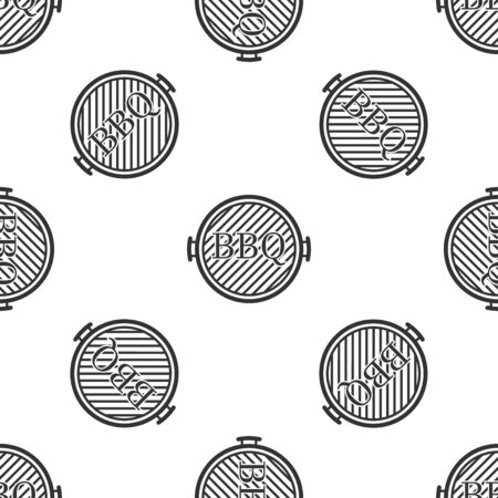 Black Barbecue grill icon isolated seamless pattern on white background. Top view of BBQ grill. Vector Illustration