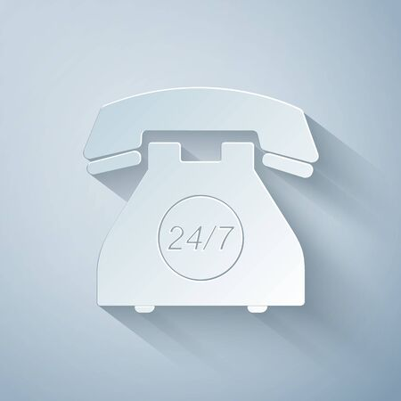 Paper cut Telephone 24 hours support icon isolated on grey background. All-day customer support call-center. Open 24 hours a day and 7 days a week. Paper art style. Vector Illustration