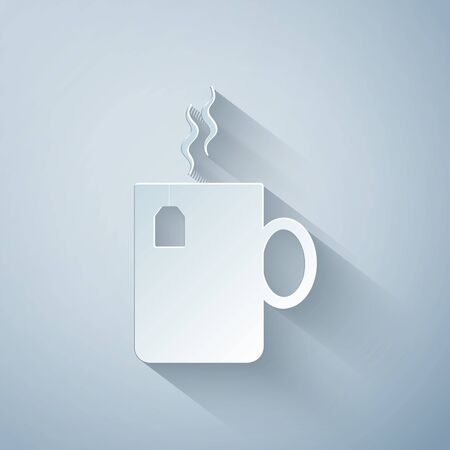 Paper cut Cup of tea with tea bag icon isolated on grey background. Paper art style. Vector Illustration