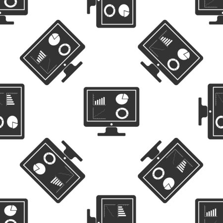 Black Computer monitor with graph chart icon isolated seamless pattern on white background. Report text file icon. Accounting sign. Audit, analysis, planning. Vector Illustration