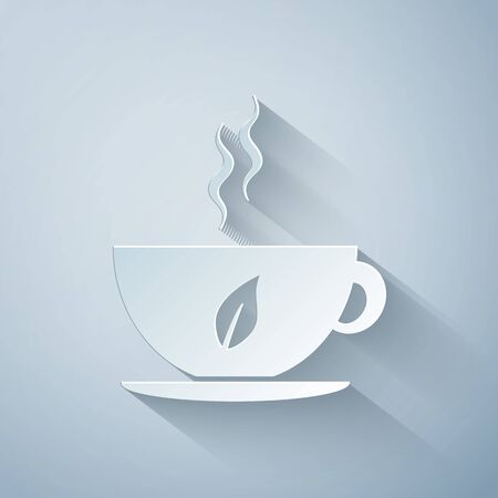 Paper cut Cup of tea and leaf icon isolated on grey background. Paper art style. Vector Illustration