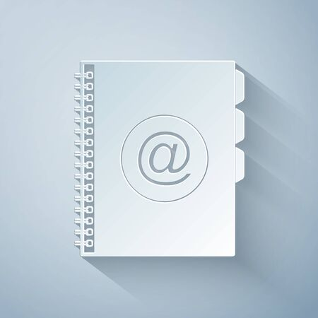 Paper cut Address book icon isolated on grey background. Notebook, address, contact, directory, phone, telephone book icon. Paper art style. Vector Illustration