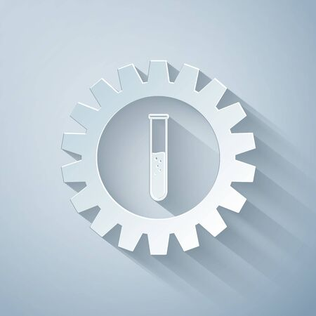 Paper cut Gear and test tube icon isolated on grey background. Cogwheel and flask sign. Experiment laboratory glass chemical research symbol. Paper art style. Vector Illustration