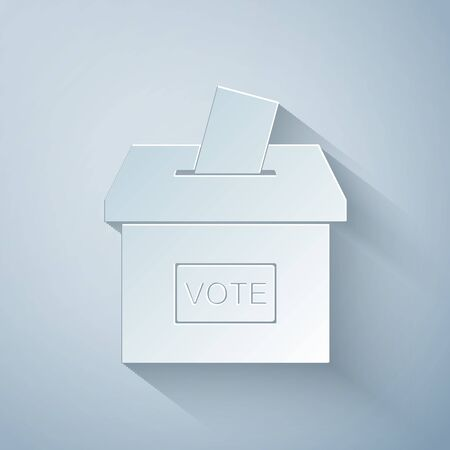 Paper cut Vote box or ballot box with envelope icon isolated on grey background. Paper art style. Vector Illustration Ilustracja