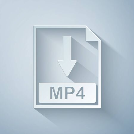Paper cut MP4 file document icon. Download MP4 button icon isolated on grey background. Paper art style. Vector Illustration Ilustracja