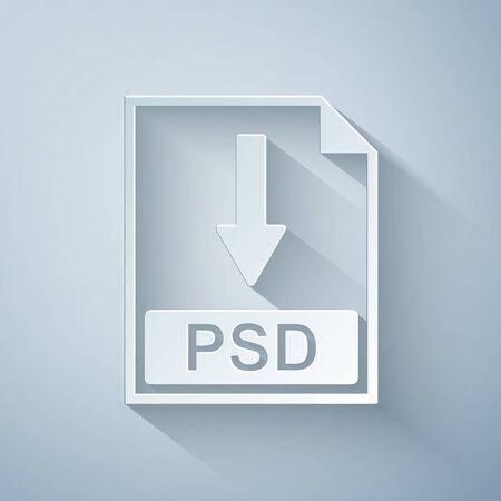 Paper cut PSD file document icon. Download PSD button icon isolated on grey background. Paper art style. Vector Illustration