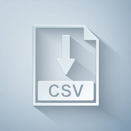 Paper cut CSV file document icon. Download CSV button icon isolated on grey background. Paper art style. Vector Illustration