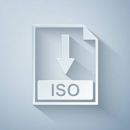 Paper cut ISO file document icon. Download ISO button icon isolated on grey background. Paper art style. Vector Illustration