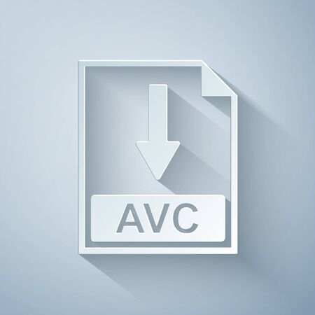 Paper cut AVC file document icon. Download AVC button icon isolated on grey background. Paper art style. Vector Illustration