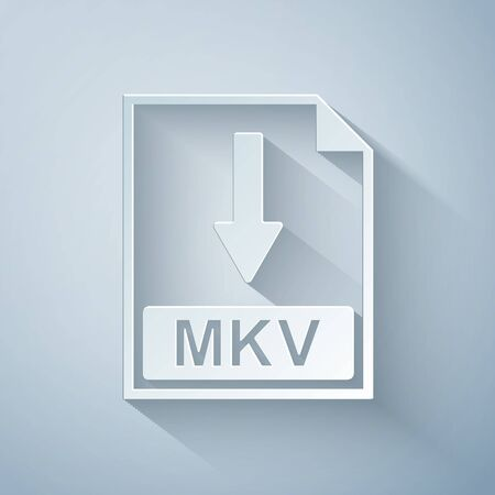 Paper cut MKV file document icon. Download MKV button icon isolated on grey background. Paper art style. Vector Illustration