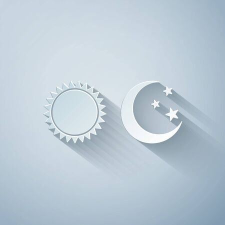 Paper cut Sun and moon icon isolated on grey background. Weather daytime and night. Paper art style. Vector Illustration