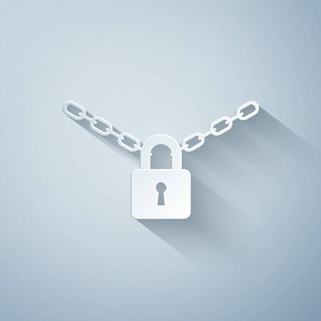 Paper cut Metal chain and lock icon isolated on grey background. Padlock and steel chain. Paper art style. Vector Illustration