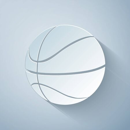 Paper cut Basketball ball icon isolated on grey background. Sport symbol. Paper art style. Vector Illustration Ilustracja