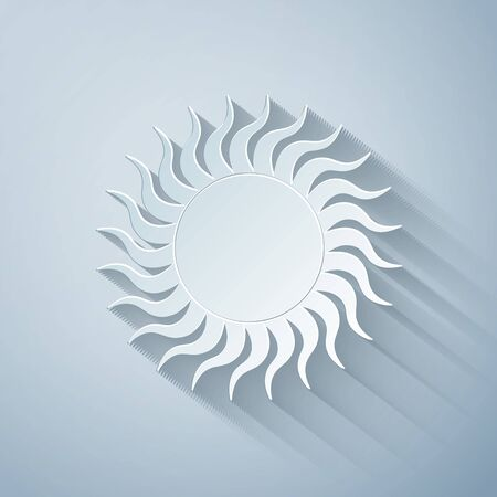 Paper cut Sun icon isolated on grey background. Paper art style. Vector Illustration