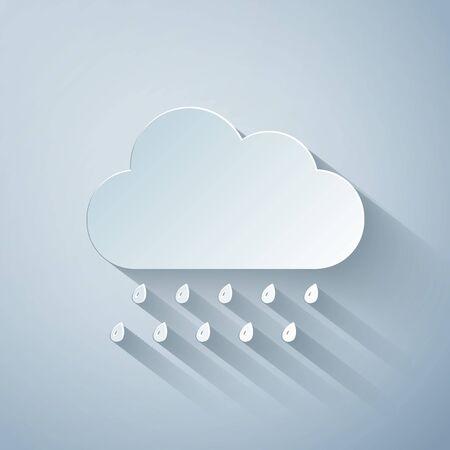 Paper cut Cloud with rain icon isolated on grey background. Rain nimbus cloud precipitation with rain drops. Paper art style. Vector Illustration