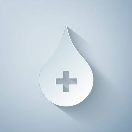 Paper cut Blood drop icon isolated on grey background. Donate drop blood with cross sign. Donor concept. Paper art style. Vector Illustration Ilustracja