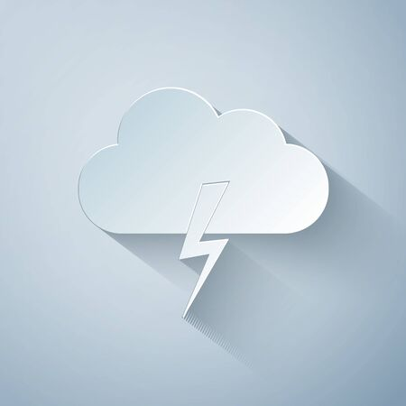 Paper cut Storm icon isolated on grey background. Cloud and lightning sign. Weather icon of storm. Paper art style. Vector Illustration Ilustracja