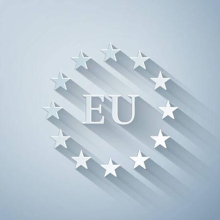 Paper cut Flag of European Union icon isolated on grey background. EU circle symbol. Waving EU flag. Paper art style. Vector Illustration