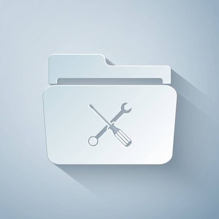 Paper cut Folder and tools or settings icon isolated on grey background. Folder with wrench and screwdriver sign. Computer technical service. Paper art style. Vector Illustration