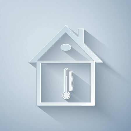 Paper cut House temperature icon isolated on grey background. Thermometer icon. Paper art style. Vector Illustration
