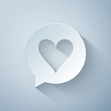 Paper cut Heart in speech bubble icon isolated on grey background. Heart shape in message bubble. Love sign. Valentines day symbol. Paper art style. Vector Illustration