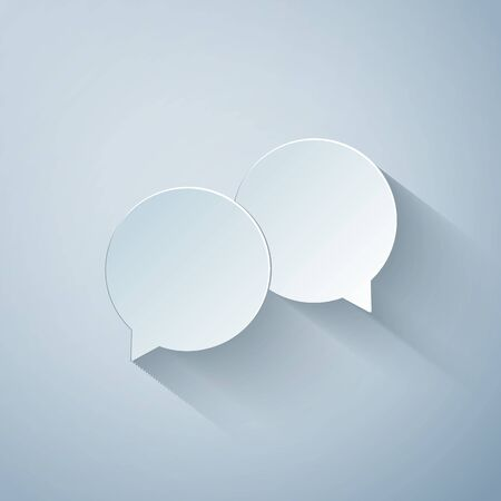 Paper cut Blank speech bubbles icon isolated on grey background. Paper art style. Vector Illustration