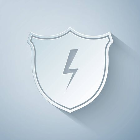 Paper cut Secure shield with lightning icon isolated on grey background. Security, safety, protection, privacy concept. Paper art style. Vector Illustration