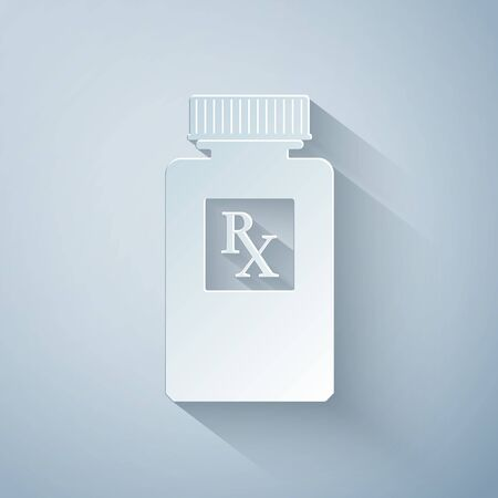 Paper cut Pill bottle with Rx sign and pills icon isolated on grey background. Pharmacy design. Rx as a prescription symbol on drug medicine bottle. Paper art style. Vector Illustration