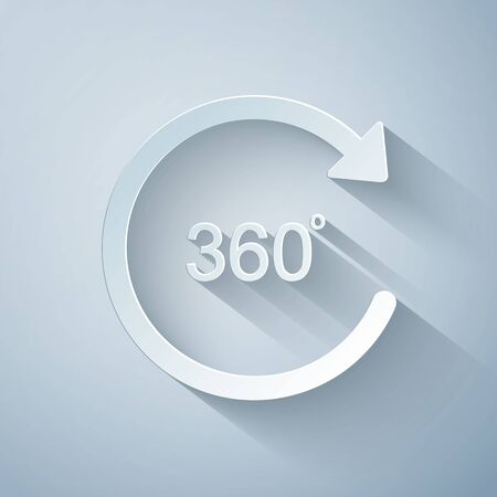 Paper cut Angle 360 degrees icon isolated on grey background. Rotation of 360 degrees. Geometry math symbol. Full rotation. Paper art style. Vector Illustration