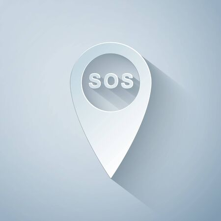 Paper cut Marker location with SOS icon isolated on grey background. SOS call location marker. Map pointer sign. SOS pinpoint sign with text. Paper art style. Vector Illustration