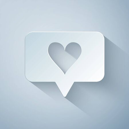 Paper cut Like and heart icon isolated on grey background. Counter Notification Icon. Follower Insta. Paper art style. Vector Illustration