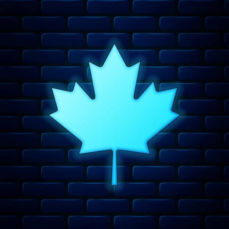 Glowing neon Canadian maple leaf icon isolated on brick wall background. Canada symbol maple leaf.  Vector Illustration Illustration
