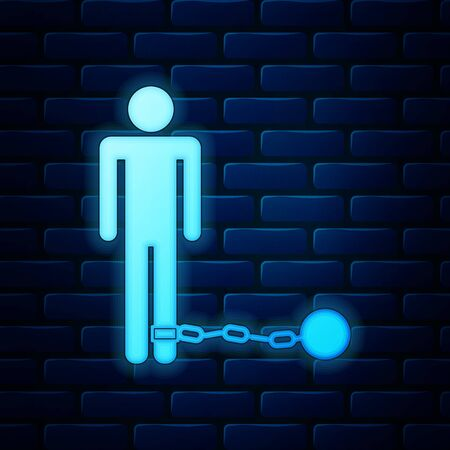 Glowing neon Prisoner with ball on chain icon isolated on brick wall background. Vector Illustration