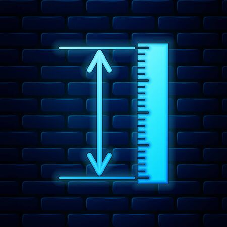 Glowing neon The measuring height and length icon isolated on brick wall background. Ruler, straightedge, scale symbol. Geometrical instruments. Vector Illustration