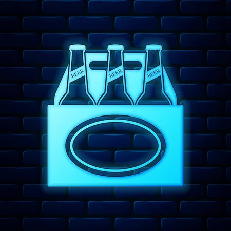 Glowing neon Pack of beer bottles icon isolated on brick wall background. Case crate beer box sign. Vector Illustration Illustration
