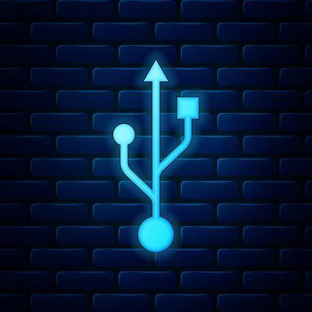 Glowing neon USB symbol icon isolated on brick wall background. Usb flash drive symbol. Vector Illustration