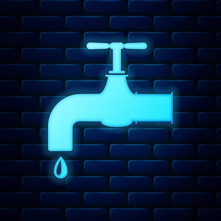 Glowing neon Water tap with a falling water drop icon isolated on brick wall background. Vector Illustration Stock Vector - 135664535