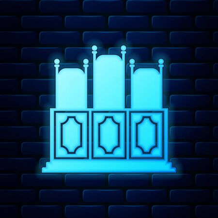 Glowing neon Court's room with table icon isolated on brick wall background. Chairs icon. Vector Illustration
