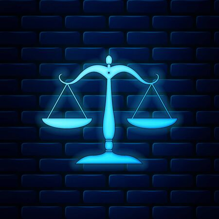 Glowing neon Scales of justice icon isolated on brick wall background. Court of law symbol. Balance scale sign. Vector Illustration