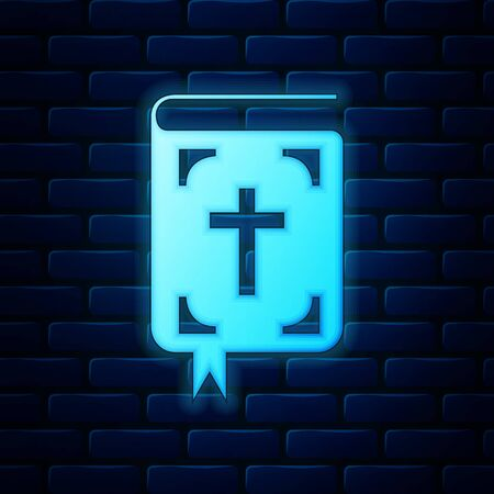Glowing neon Bible book icon isolated on brick wall background. Holy Bible book sign. Vector Illustration