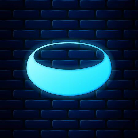 Glowing neon Bowl icon isolated on brick wall background. Vector Illustration