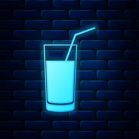 Glowing neon Soft drink icon isolated on brick wall background. Vector Illustration