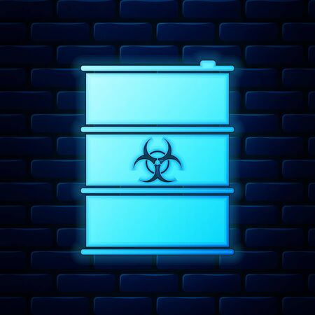 Glowing neon Biological hazard or biohazard barrel icon isolated on brick wall background. Radioactive garbage emissions, environmental pollution, danger of ecological disaster. Vector Illustration