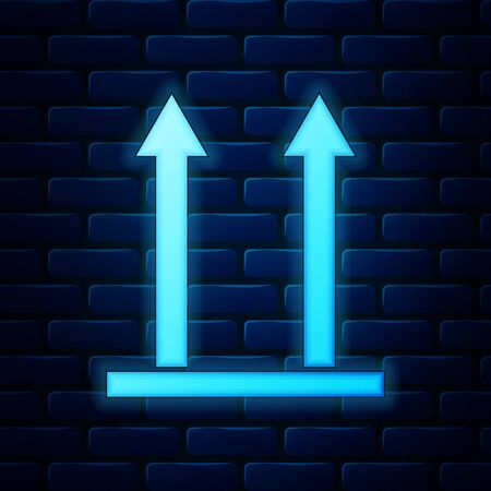 Glowing neon This side up icon isolated on brick wall background. Two arrows indicating top side of packaging. Cargo handled so these arrows always point up. Vector Illustration