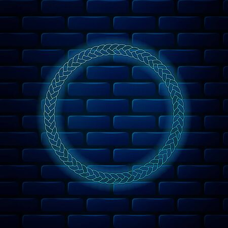 Glowing neon Rope frame icon isolated on brick wall background. Frames from nautical rope. Round marine rope for decoration. Vector Illustration